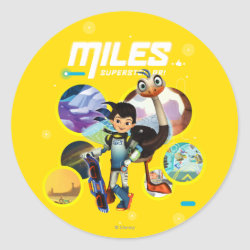 Round Sticker with Miles and Merc Intergalactic Voyages design