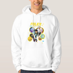 Men's Basic Hooded Sweatshirt with Miles and Merc Intergalactic Voyages design