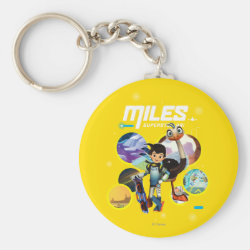 Basic Button Keychain with Miles and Merc Intergalactic Voyages design