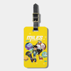 Small Luggage Tag with leather strap with Miles and Merc Intergalactic Voyages design