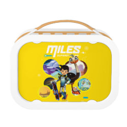 Orange yubo Lunch Box with Miles and Merc Intergalactic Voyages design