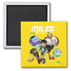 Square Magnet with Miles and Merc Intergalactic Voyages design