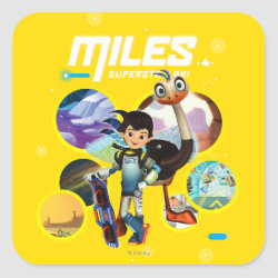 Square Sticker with Miles and Merc Intergalactic Voyages design