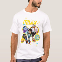 Men's Basic T-Shirt with Miles and Merc Intergalactic Voyages design