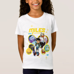 Girls' Fine Jersey T-Shirt with Miles and Merc Intergalactic Voyages design