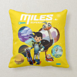 Cotton Throw Pillow with Miles and Merc Intergalactic Voyages design