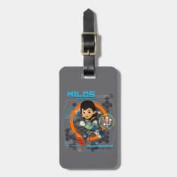 Small Luggage Tag with leather strap with Miles from Tomorrowland Blastastic design