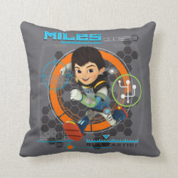 Cotton Throw Pillow with Miles from Tomorrowland Blastastic design