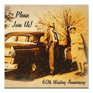 """Milestone Anniversary Party Invite 5.25"""" Square Invitation Card"""
