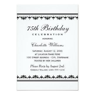 Milestone Birthday Celebration   Black Damask 5x7 Paper Invitation Card