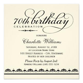 Milestone Birthday Celebration | Black Script 5.25x5.25 Square Paper Invitation Card