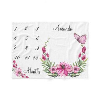 Milestone Pink Watercolor Wreath Baby Keepsake Fleece Blanket