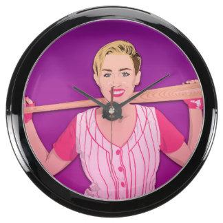 Miley Baseball Girl Wall Clock Fish Tank Clocks