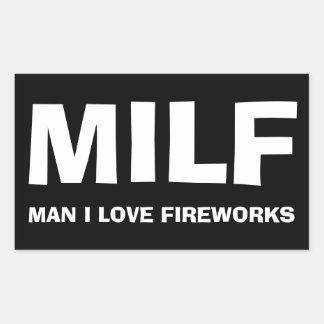 MILF - USTED i LOVE FIREWORKS Pegatina Rectangular