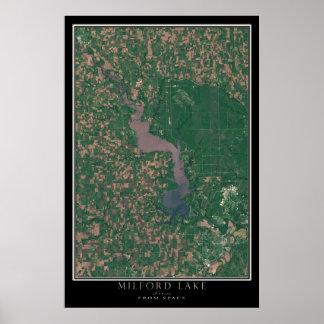 Milford Lake Kansas From Space Satellite Art Poster