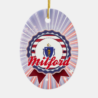 Milford, MA Double-Sided Oval Ceramic Christmas Ornament