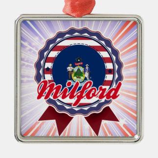 Milford, ME Square Metal Christmas Ornament