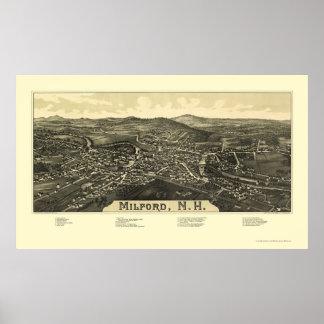 Milford, NH Panoramic Map - 1886 Print
