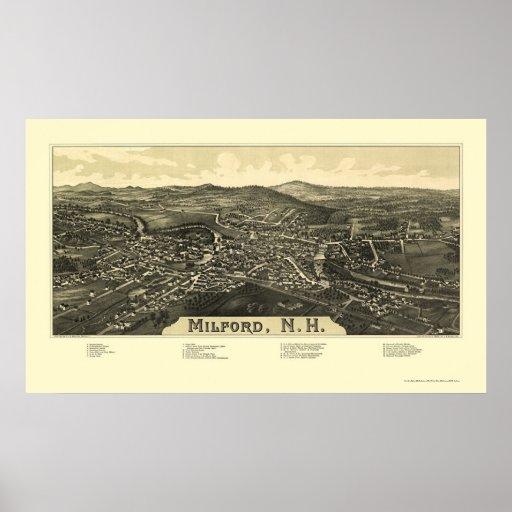 Milford, NH Panoramic Map - 1886 Poster