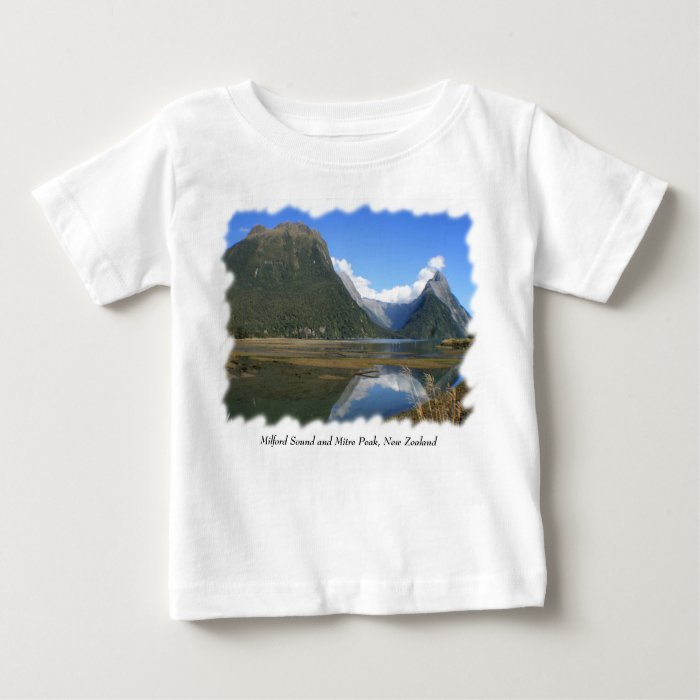Milford Sound Bay, Mitre Peak, New Zealand Baby T-Shirt