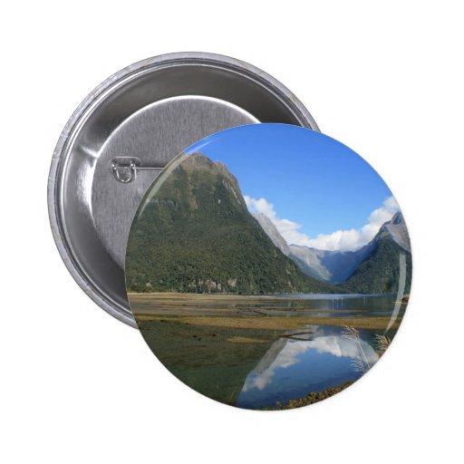Milford Sound Bay, Mitre Peak, New Zealand Button