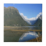 Milford Sound Bay, Mitre Peak, New Zealand Tile