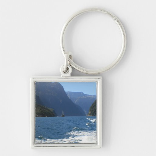 Milford Sound, New Zealand Silver-Colored Square Keychain