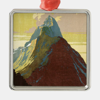Milford Sound New Zealand Mountain Square Metal Christmas Ornament