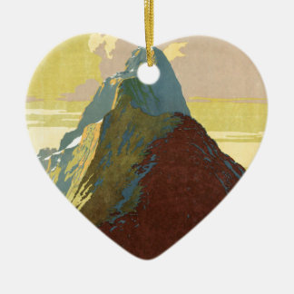 Milford Sound New Zealand Mountain Double-Sided Heart Ceramic Christmas Ornament