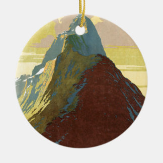Milford Sound New Zealand Mountain Double-Sided Ceramic Round Christmas Ornament