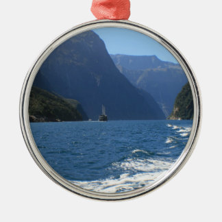 Milford Sound, New Zealand Round Metal Christmas Ornament