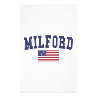 Milford US Flag Stationery