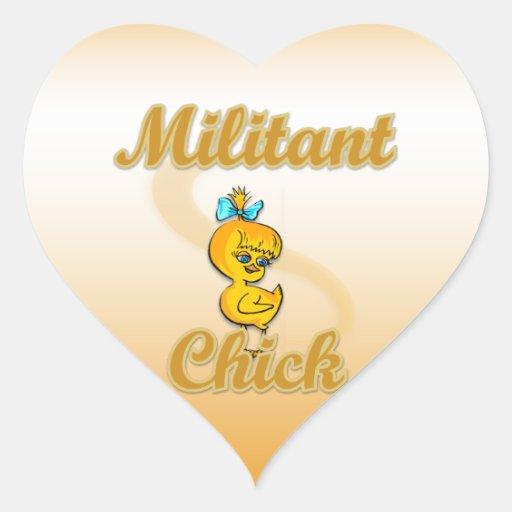 Militant Chick Heart Sticker