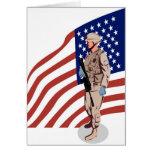 Militar americano de los militares del soldado tarjetón