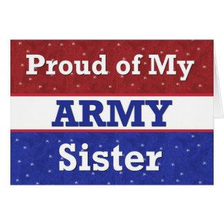 Militar - orgulloso de mi hermana del ejército que tarjeta de felicitación