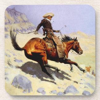Militares de la caballería del vintage, el vaquero posavasos