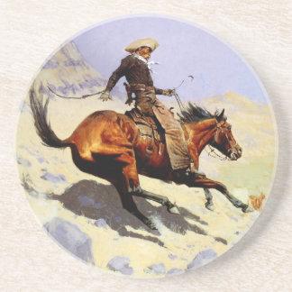 Militares de la caballería del vintage, el vaquero posavasos de arenisca