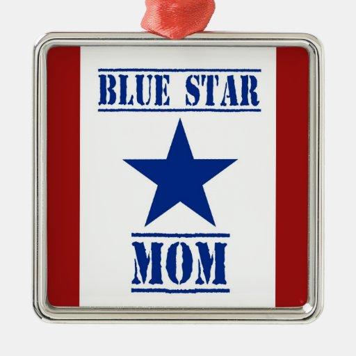 Militares de la mamá de la estrella azul adorno navideño cuadrado de metal