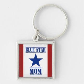 Militares de la mamá de la estrella azul llavero cuadrado plateado