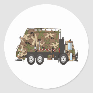 Militares del camión de basura de Camo Pegatina Redonda