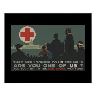 Militares patrióticos de la Cruz Roja de la Póster