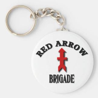 Militares rojos de la brigada de la flecha llavero redondo tipo pin