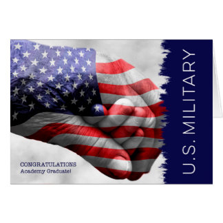 Military Academy Graduate - Hand in Hand with Flag Card