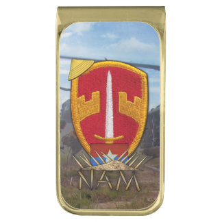 Military advisors MAAG Vietnam Nam war vets patch Gold Finish Money Clip