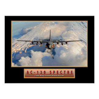 """Military Aircraft Poster """"AC-130 Spectre"""" 24x18"""