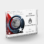 """Military Appreciation Award<br><div class=""""desc"""">Designed for Military Service. Includes my &quot;Pledge of Allegiance&quot; artwork. Perfect gift of recognition for your special soldier. Example shown is what I made for my husband after retiring this year from the Army. Customize it yourself or contact me if you have a special request.</div>"""