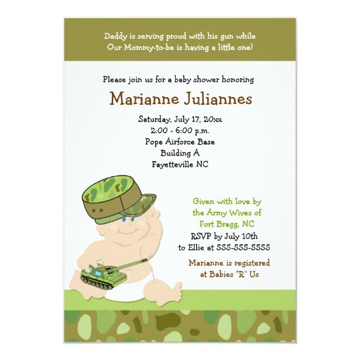 Military Army Marines 5x7 Baby Shower Invitation