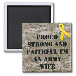 military army wife 2 inch square magnet