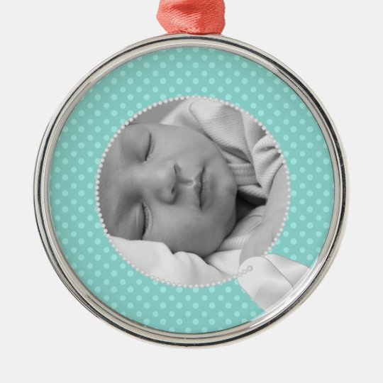Military Baby and Teal Polka Dots Metal Ornament