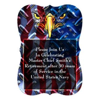 """Military Bald Eagle and Diamond plate 5"""" X 7"""" Invitation Card"""